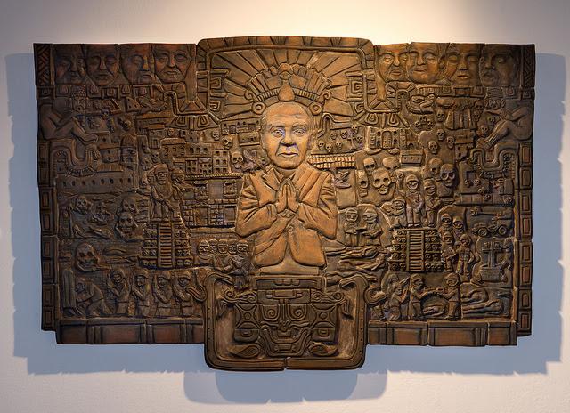 La tragedia de Felipe Calderon hacia el infierno. 2011. 38inx 59in x 3.5in.