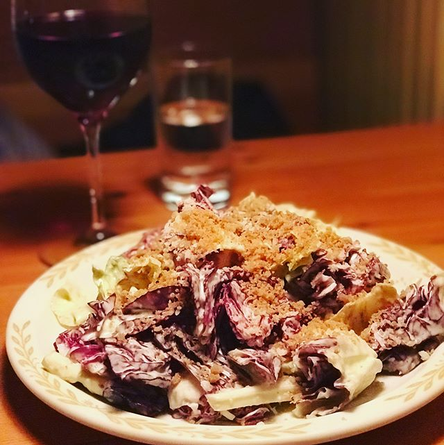 Impressed with #lovelys5050 seasonal amazingness - winter chicory salad and pizza with mushrooms and fiore sardo