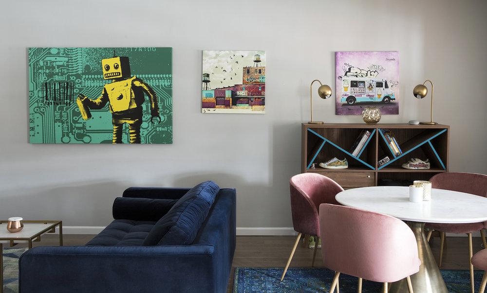 pink velvet chair blue couch graffiti art wall.jpg