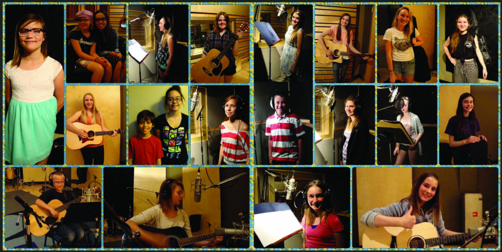 Photo Collage from our Year End Recording Project. Each student has the opportunity to record a song in studio
