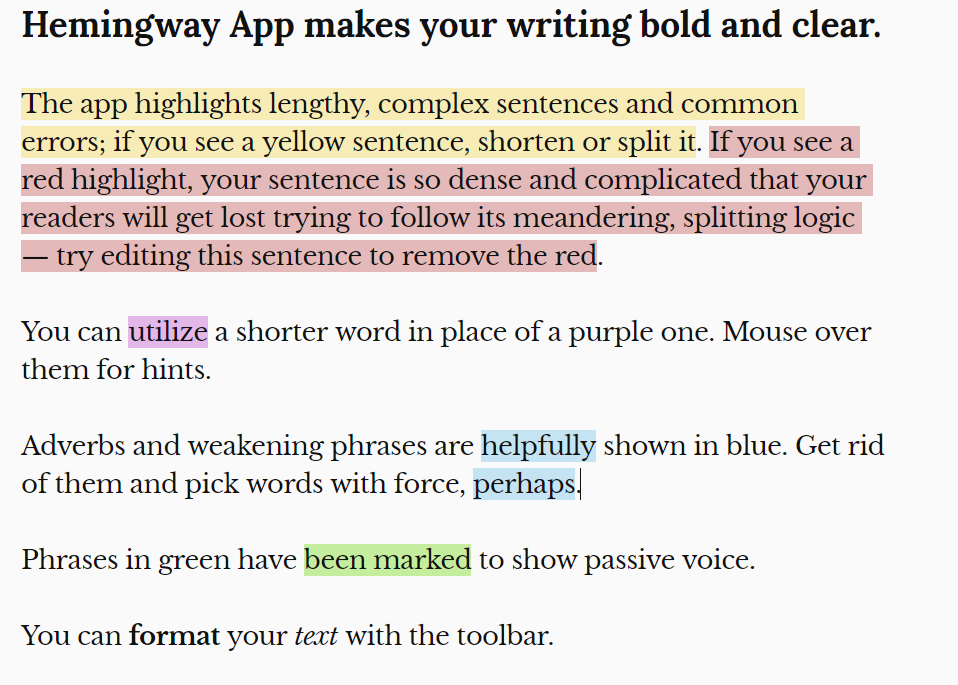 Color-coded Hemingway editor