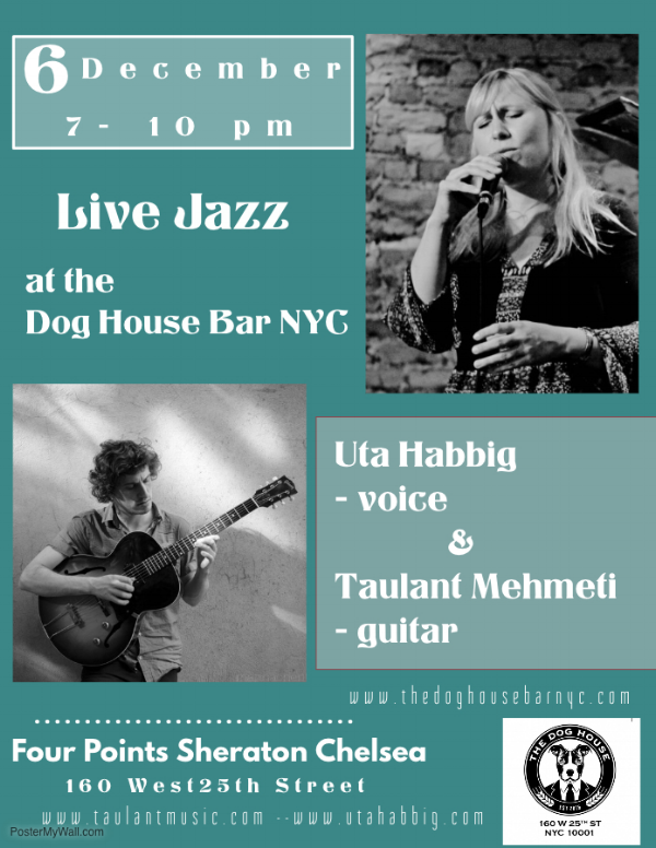 Hailing all the way from Germany, this International Jazz Duo will leave you feeling the holiday spirit!  Again, no cover, but you can make your reservations by calling 212-33-8301!!