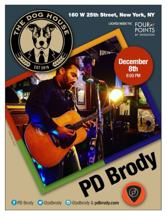 PD BRODY is Baaaaaaaaack by popular demand!  His heartfelt, soulful sounds will have you swooning and leaving you wondering 'I hope he gives autographs...' .  Check him out on 12/8 @ 8pm!           THEN following PD BRODY, get ready to dance it out.  Don't worry, there is no cover--just stay the night away...