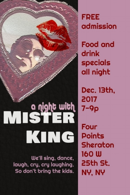And featuring the Sweet Sounds of MISTER KING on 12/13 @ 7pm.  His warm, baritone voice is just right for the holidays!  Reservations recommended, 212-337-8301.