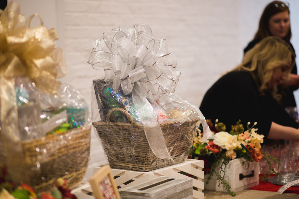 The first and second place gift basket raffle prizes brought by A.C. Moore. || Photo by  Tim Becker Photography