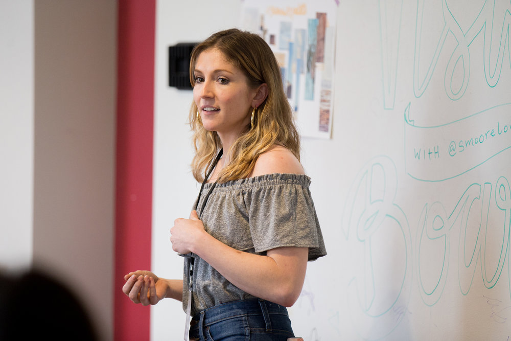 Sarah Moore from smoorelovin leading a vision boarding workshop at The Blog Connect 2018. || Photo by  Tim Becker Photography