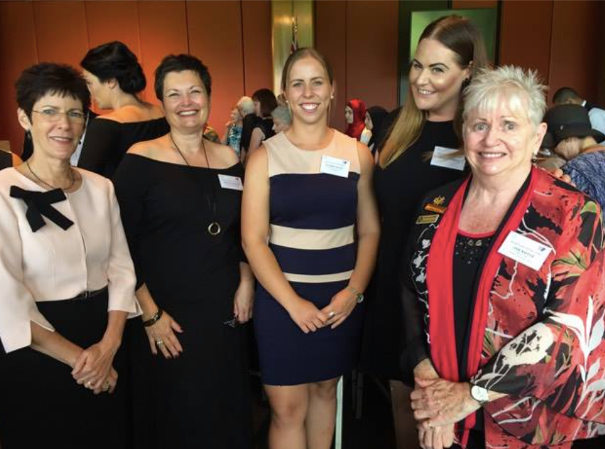 Mrs Lynda Hurley, Patron of the National Council of Women NSW, Silvana Griffin CWA Sydney City president, Lucy Watt, Jessica Whipp CWA Sydney City VP and Annie Kiefer, hon secretary of the CWA of NSW.