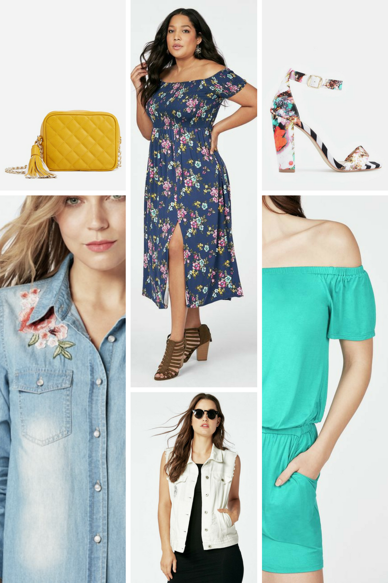 Photos: JustFab SHOP THE EDIT: Marigold Bag  |  Floral Midi Dress  |  Persefinee Floral Shoe  |  Denim Floral Top White Denim Vest  |  Off Shoulder Romper