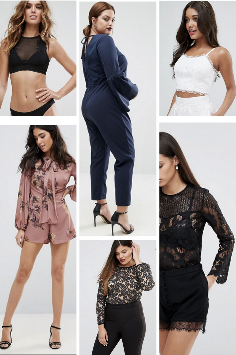 Photos: ASOS SHOP THE EDIT: Black Applique Bralette  |  Navy Bell Sleeve Jumpsuit  |  White Bridal Bralette  Bell Sleeve Romper  |  Plus Embellished Bodysuit  |  Bell Sleeve Lace Blouse