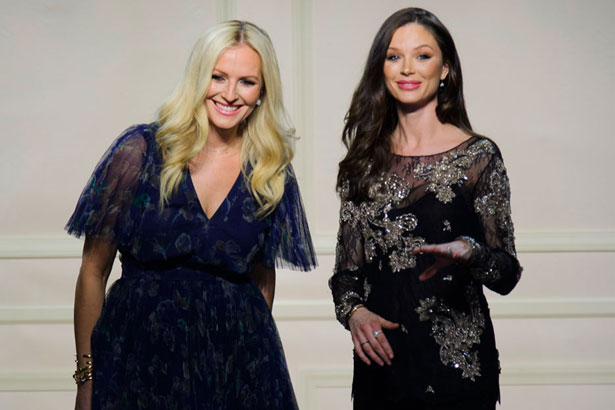 Keren Craig and Georgina Chapman at their Fall 2015 show at New York Fashion Week; image: Imaxtree