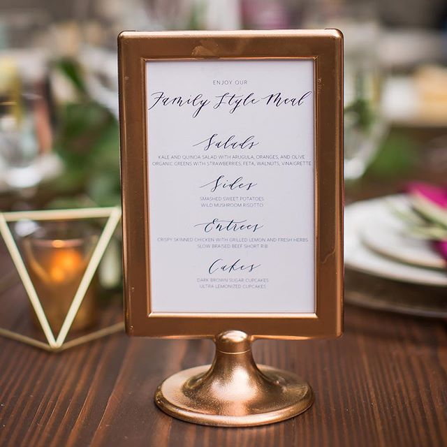 Creating menu signs always makes me hungry! So fun to see how these were incorporated on the big day!