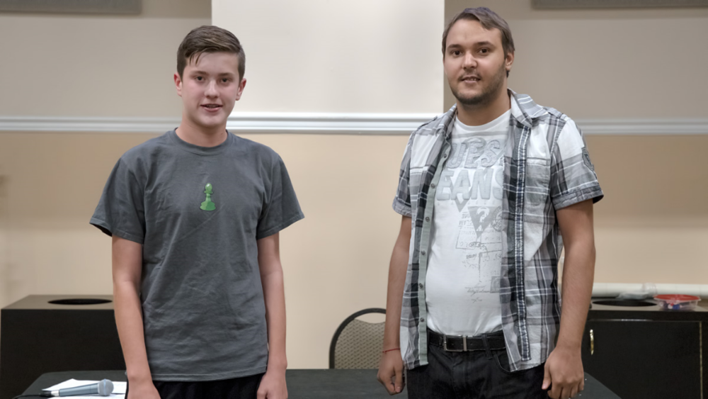 Ryan Hamley (1492-Q) (L) wins the Quick tournament on tie-breaks and tied for 1st Place with Martin Hansen (2133-Q) in the USCF Tournament held on-campus at UCF in the Cape Florida Ballroom, 3rd Floor, Student Union building.