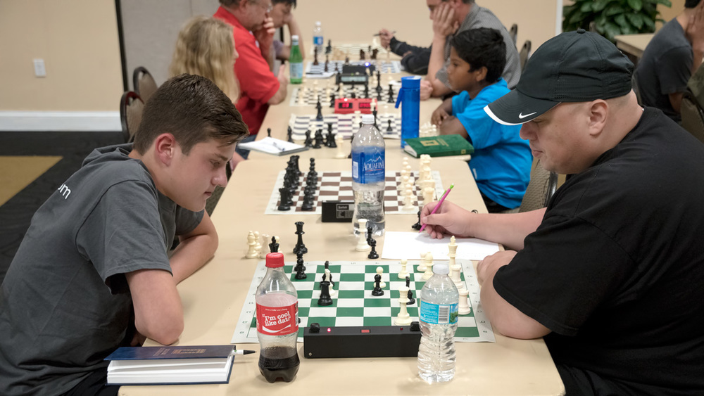 Final Round, Board 1, June 4, 2016 Quick Tournament, Ryan Hamley (1492-Q) (L) vs Evan Cortes (1773-Q) (R) that took place in the Cape Florida Ballroom, in UCF's Student Union building last Saturday.