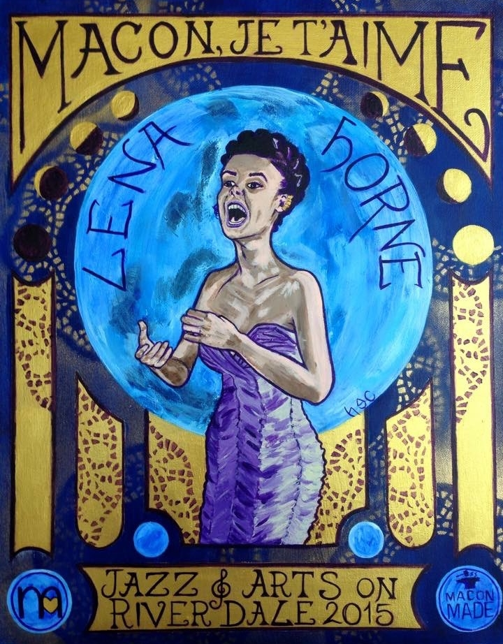 Painting of Lena Horne in the style of Mucha singing the blues through the phases of the moon. Painted for an event. Acrylic & iridescent paint.
