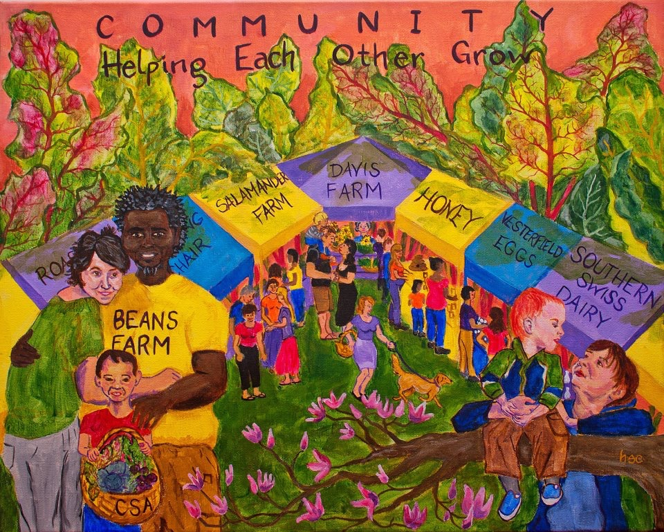 Original design for the College St mural. Mulberry St Farmer's Market engulfed in a forest of swiss chard. 2012.