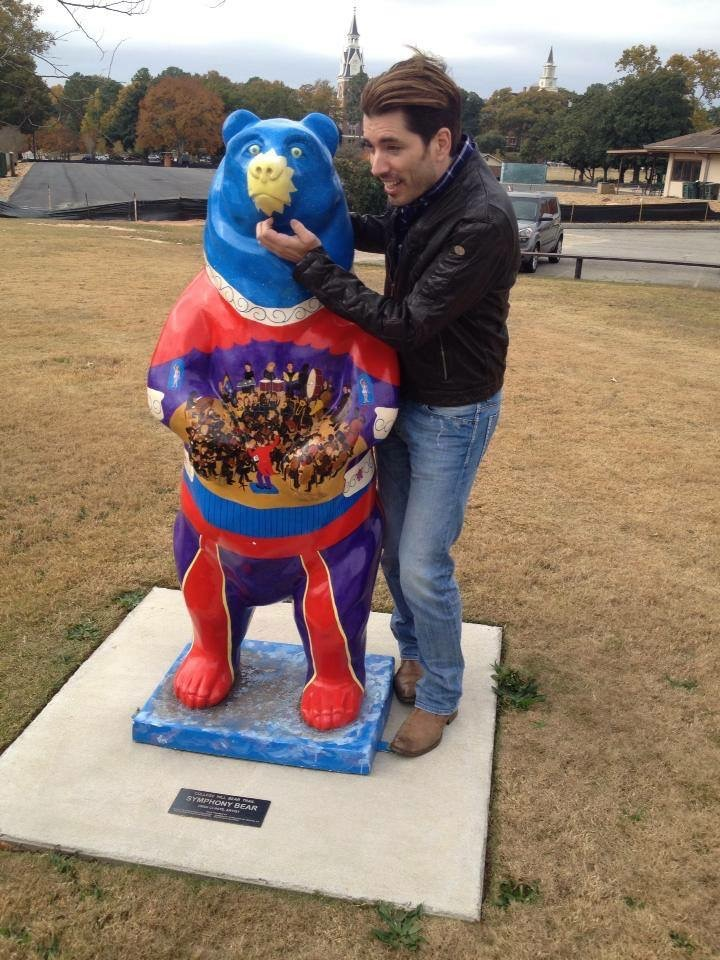 Symphony Bear and celebrity sighting with HGTV's Property Brother, Jonathan Scott.I painted the interior of Grand Opera House on the bear sculpture, commissioned by Macon Arts Alliance. It can be found at Tattnall Square Park between the Tennis Courts and the roundabout.