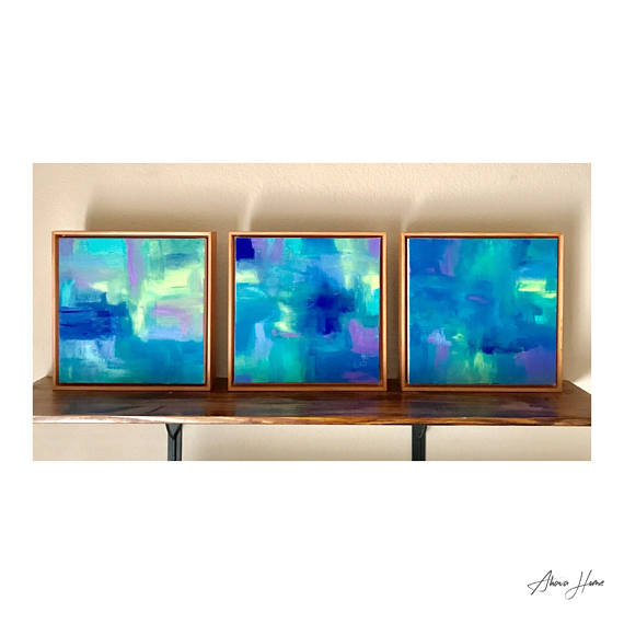Acrylic on canvas- 3 Piece Set 12x12 Solid wood floater frame in nude oak