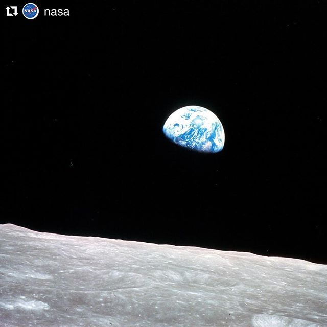"The Earth is a very small stage in a vast cosmic arena. - #CarlSagan 🌏  When things get overwhelming, remember, we're just precious specks in space. Guided #meditations for helping us keep things in perspective this week on the podcast and blog (check the link in our bio). 🌏  #Repost @nasa (@get_repost) ・・・ Earthrise from Christmas Eve, 1968: Millions around the world were watching and listening as the Apollo 8 astronauts - Frank Borman, Jim Lovell and Bill Anders - became the first humans to orbit another world. As their command module floated above the lunar surface, the astronauts beamed back images of the moon and Earth and took turns reading from the book of Genesis, closing with a wish for everyone ""on the good Earth."" The mission was also famous for the iconic ""Earthrise"" image, snapped by Anders, which would give humankind a new perspective on their home planet. Anders has said that despite all the training and preparation for an exploration of the moon, the astronauts ended up discovering Earth.  Credits: NASA 🌏  #mojo #thrive #perspective"