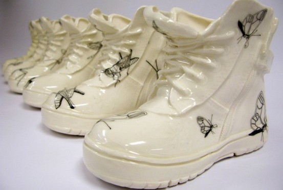 The tiny and vulnerable life forms of the insect kingdom inspired this series of work. The series stemmed from a children's book I created for my major body of work in 2008 where the shoe was a key feature within the book. They evoke memories of play and ignite the imagination, a reminder of the child within all.