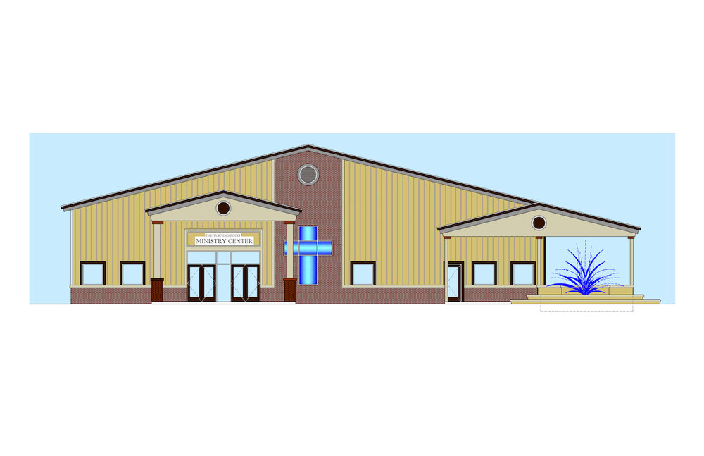 Front Elevation - The Ministry Center will be a 20,000 sq ft facility providing temporary shelter, counseling rooms, recreation space, outdoor patio, and more.