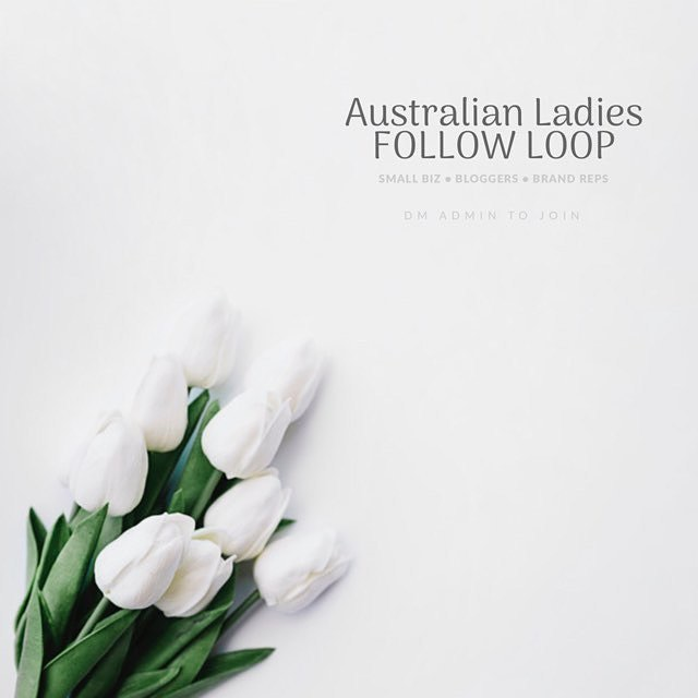 🍃✨ 🐨 AUSTRALIAN LOOP 🐨 ✨🍃 Hi Australian ladies! If you're an Australian blogger, influencer, brand rep, or small biz owner, join us.  1. Follow admin: @little.wrens @auburn.designs @these_little_darlings 2.Search for #ausladiesfeb2019 3.Follow accounts! The more you follow, the more will follow you. CAREFUL 👉🏻 watch for spam. 4.Comment 🍃 on everyone you follow. 5.DM @these_little_darlings or @little.wrens to join. 6.Admin will give you the pic and text to share on your page - don't tag personal photos. 💔Respect the group - don't use repost app or our tag on your photos without joining. Don't add extra tags or run our loop with non-Australian loops - this attracts spam. A list of accounts who don't respect the group will be sent to all group members to unfollow if they choose.💔 Admin are exempt from rules.  This loop will run Friday 5pm AEST to Sunday 5pm AEST. Feel free to join anytime. . . . #ausmum #australianhandmade #australiansmallbiz #australianblogger #australianbrandrep