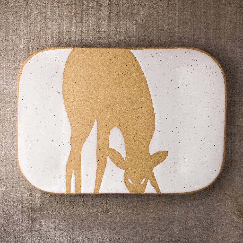 Calico White Deer Serving Platter