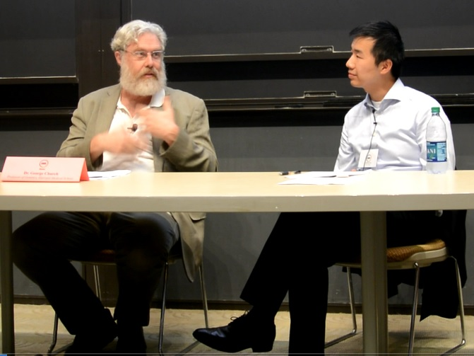 Dr. George Church (left) and moderator Johnny Hu (right).