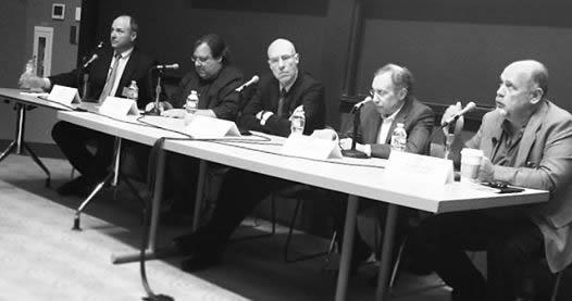 Panelists (left to right): Peter Abair, Dr. Greg Verdine, Dr. David Meeker, Dr. Robert Langer, John Carroll (moderator).