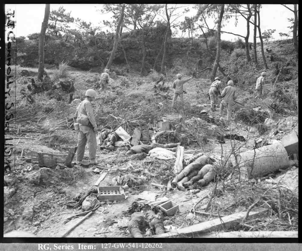 US Marines on an Okinawan Hill