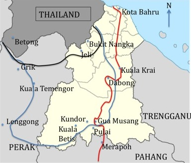 Kelanatan and the 'Kuomintang state' showing the possible extent of the 'state' after MPAJA incursions