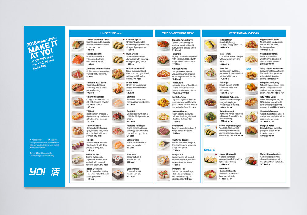 A new menu shows the variety of dishes at YO! in a simple and easy way.