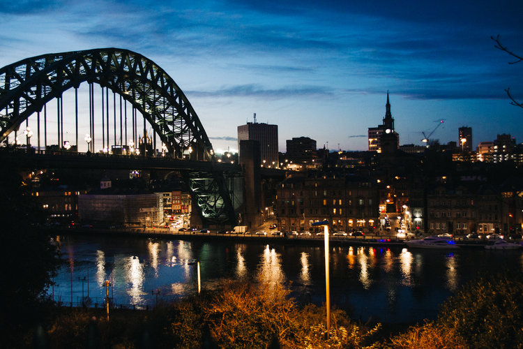 a nighttime shot of newcastle bridge. st marys heritage centre wedding gateshead newcastle. wedding photography north east stop motion films uk