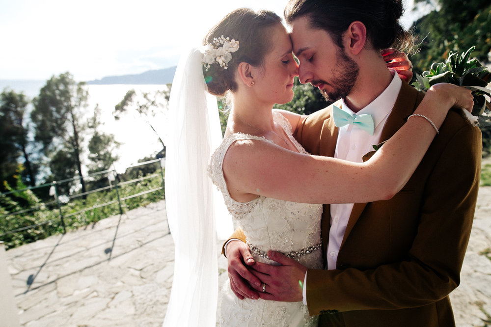 a man and woman embrace closely. destination wedding hotel monte rosa chiavari italy. stop motion wedding films uk