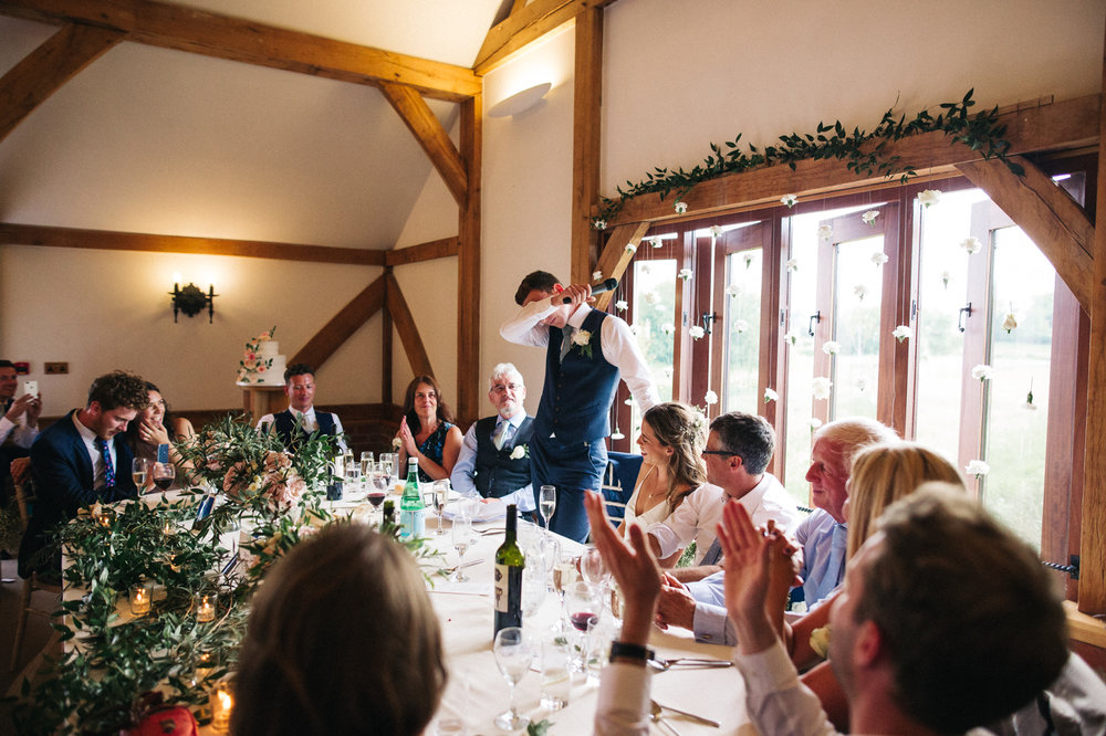 a groom is emotional during the speeches. sandhole oak barn wedding congleton cheshire. stop motion wedding films uk