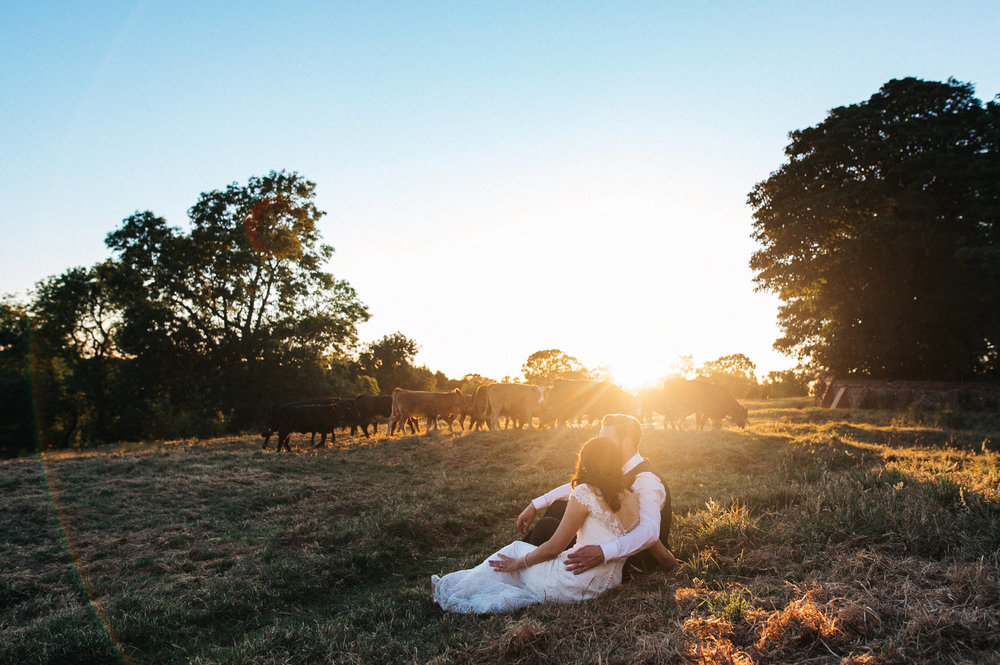 a bride and groom sit in the sunshine in a cow field. diy village hall wedding venues north yorkshire northallerton. stop motion wedding films uk