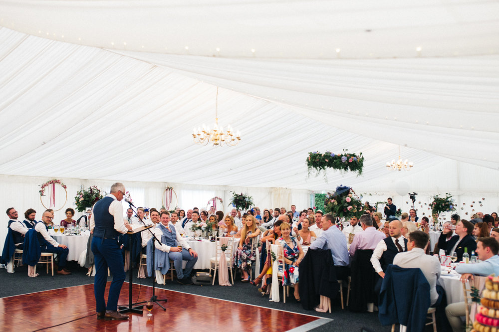 a wide shot of the marquee during the speeches. ormesby hall wedding middlesbrough teesside wedding photography and stop motion wedding films uk