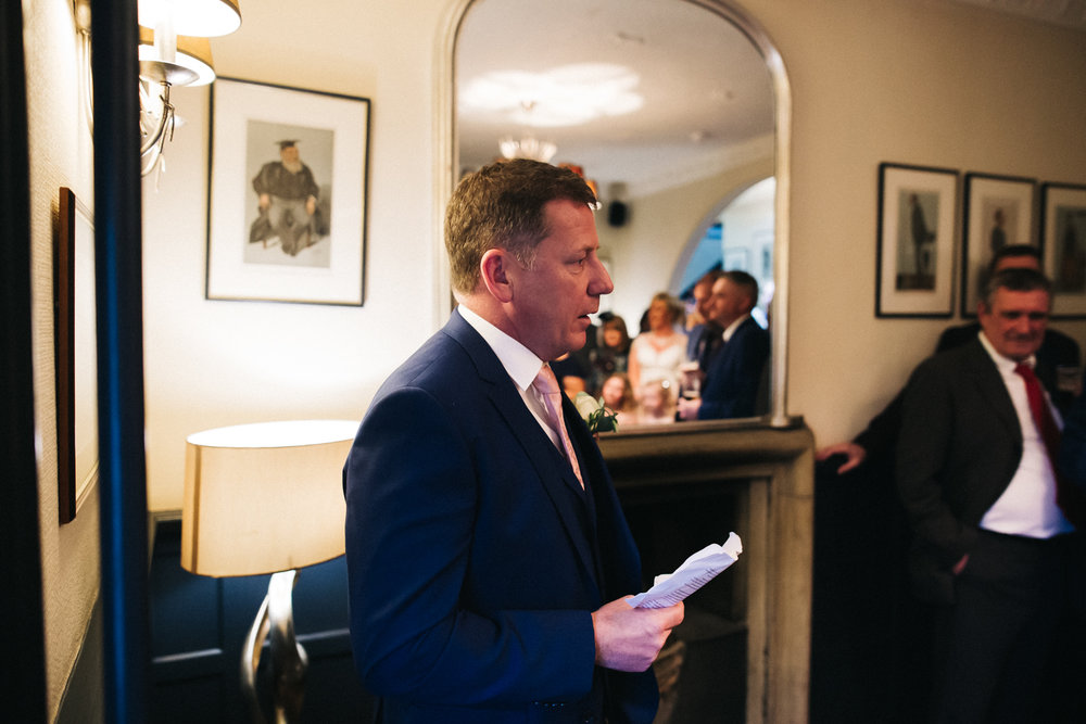 the groom delivers his speech. cleveland tontine wedding teesside north yorkshire - relaxed and creative wedding photographer
