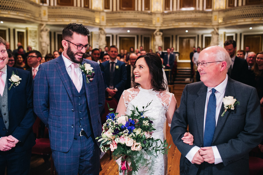 the moment the couple see each other at the top of the aisle. ceremony at st georges hall liverpool, oh me oh my wedding reception, north west wedding photographer