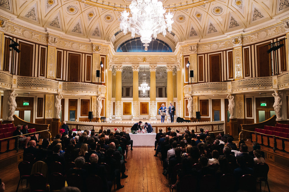 shot of the ornate ceremony room. ceremony at st georges hall liverpool, oh me oh my wedding reception, north west wedding photographer