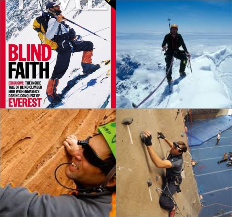 The Blind climber who sees using his tongue   Erik Weinheymayer went blind when he was 13 years old but that didn't stop him from climbing Mount Everest. With the help of Brainport he was able to see the mountain terrain with his tongue. The device enabled him to judge the depth, size and distance of his surroundings with the help of vibrations that he felt.