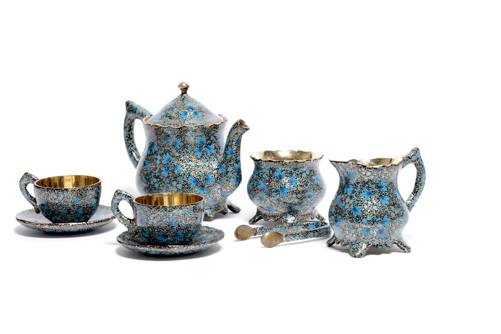 Paper Mache work (Brass tea set).jpg