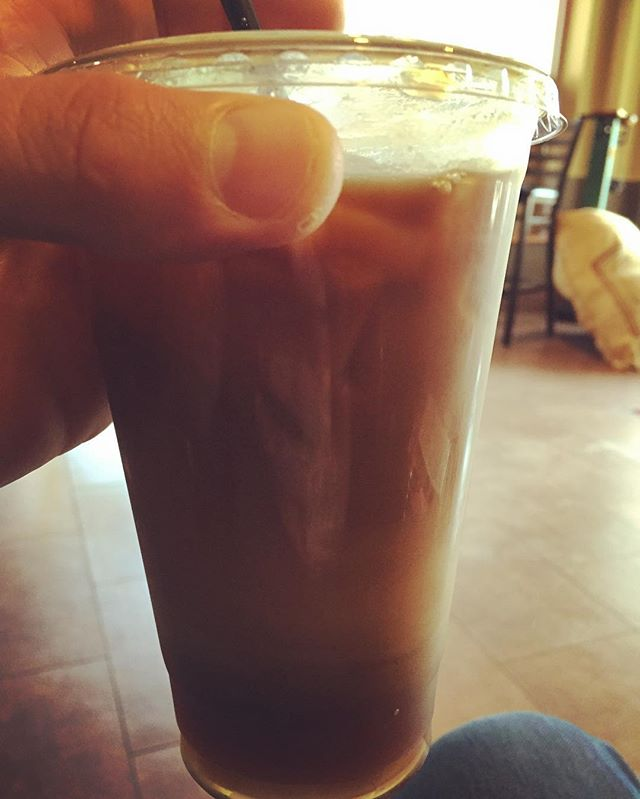 iced dirty chai (with soy milk).