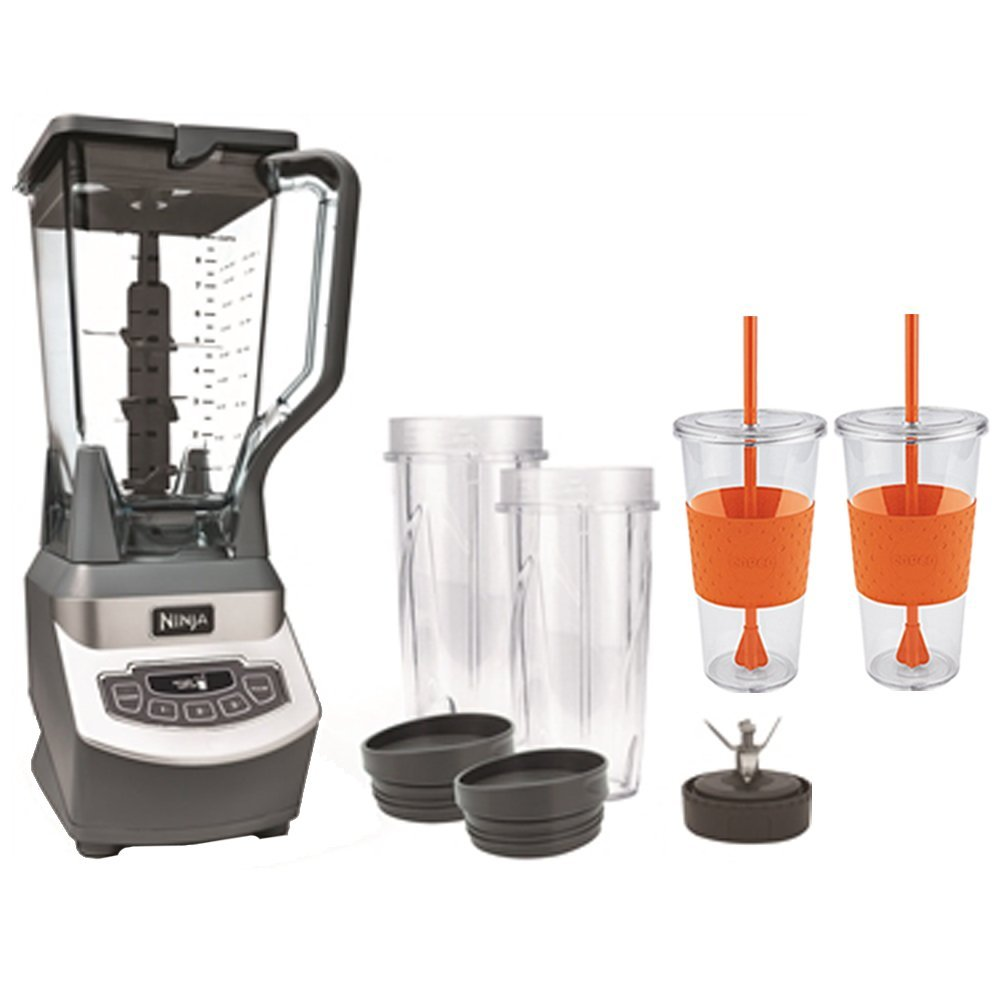 Ninja Professional Style Blender with Single Serve (BL660) With 2 x Copco Eco First Tumbler 24 Ounce Togo Cup Mug - Orange