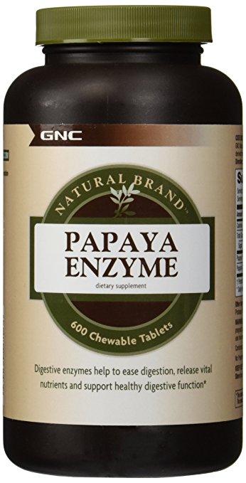 GNC Natural Brand Papaya Enzyme 600 chew tablets