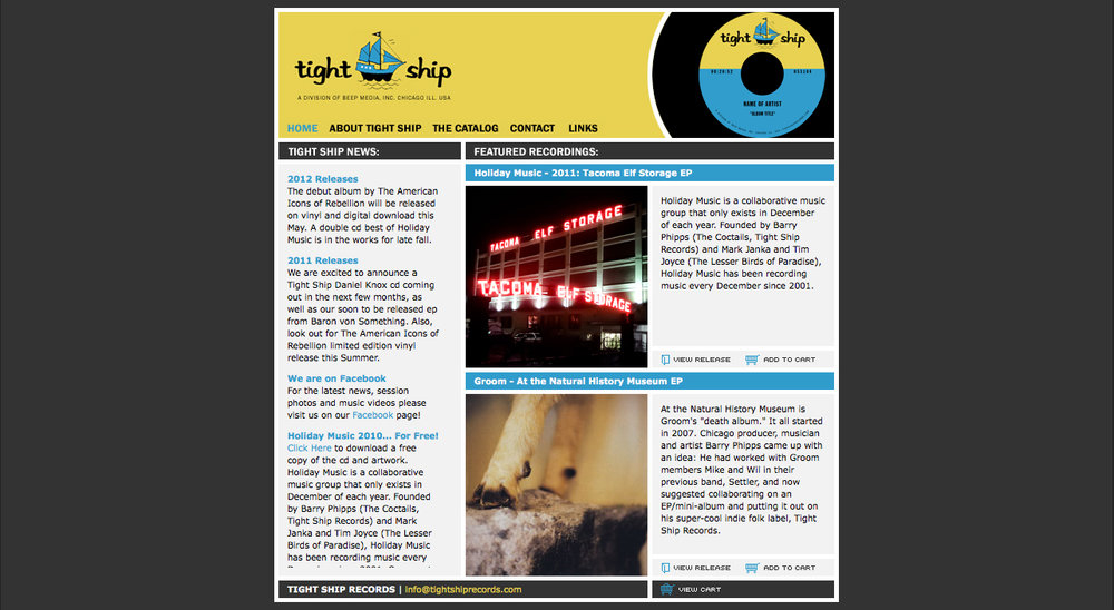 Tight Ship website 2004-2012, designed by Tom Stanley