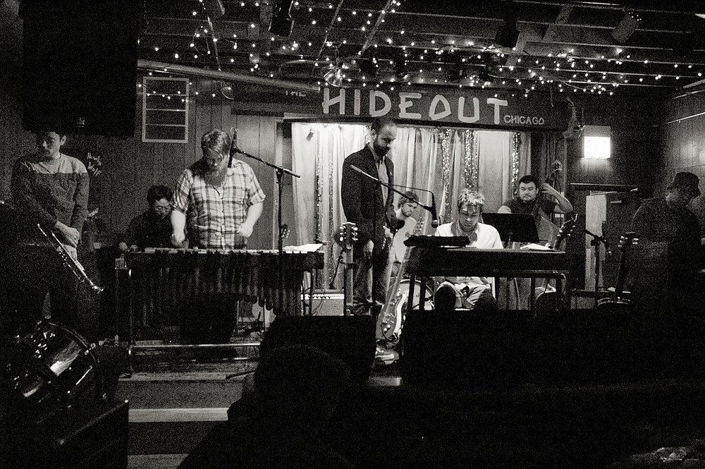 Holiday Music at The Hideout, Chicago. From left to right: Chris Erin, Charles Kim, Tim Joyce, Mark Janka, Darren Garvey, Pramod Tummala, Bill Lowman and Barry Phipps