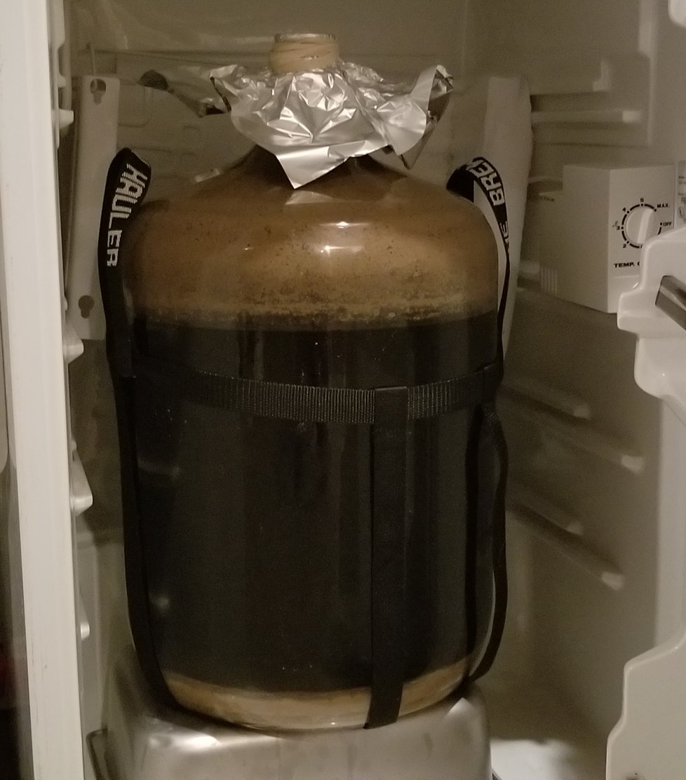 2/21/2018 - Our Imperial Stout Finished today as well. We begin cold crashing it in our mini fridge that can hold one 6.5 gallon carboy comfortably. It will hang out here for 24 hours to near freezing temps as we prepare it for a gelatin fining tomorrow