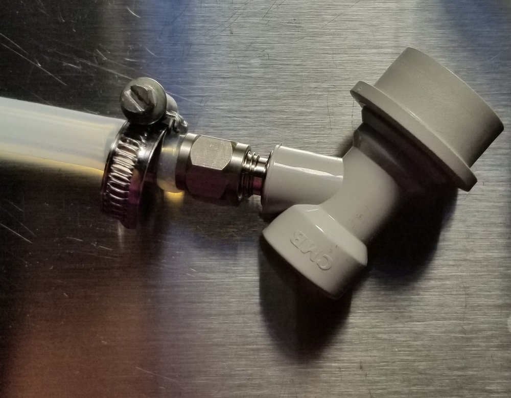 """Gas Ball Lock Disconnect & the 1/4"""" MFL x 1/4"""" Barb connected to the 1/4"""" ID Silicon Tube"""