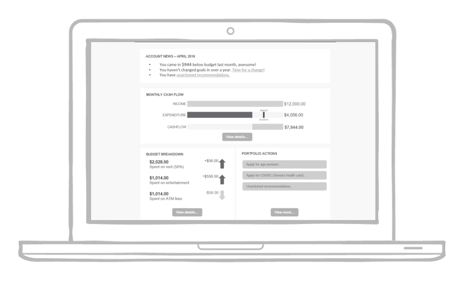 Prototype of the Financial information dashboard.