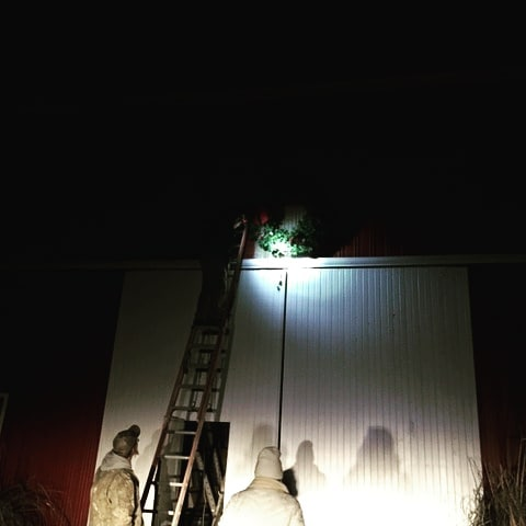 Kicking off the 2018 holiday season!! The big wreath is hung on the barn! Thanks Mark and Mark Jr. #brickelcreekorganic #2018holidayseason #bigwreath #organic farm #happyholidays